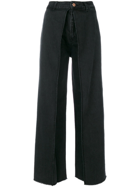 Aalto jeans flare jeans flare cropped women cotton black