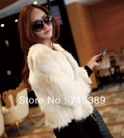 2013 quality coat, fur  fashion with  fur long haired white rabbit fur coats  FREE SHIPPING-inFur & Faux Fur from Apparel & Accessories on Aliexpress.com
