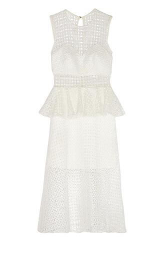dress white dress white white mesh mesh self portrait midi dress white midi dress