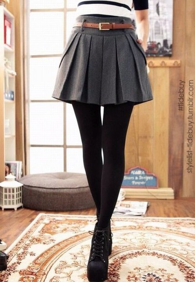 high waisted high waisted skirt Belt skater skirt pleated skirt fall outfits cute dress