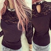 top,lace,black,fashion,style,long sleeves,fall outfits,girly,elegant,clothes,rose wholesale-jan