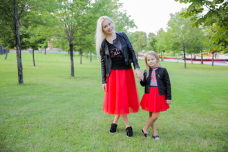 skirt leather jacket blonde hair puma creepers sneakers puma sneakers puma creepers rihana tule red skirt white t-shirt mom and daughter family set