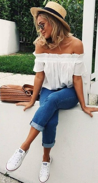 Shirt summer outfits flowy white top top blouse hat summer shoes cute aesthetic ...