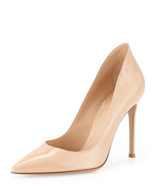 Gianvito Rossi Patent Pointed-Toe Pump, Beige