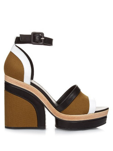5b71c1c2ae47 PIERRE HARDY Charlotte leather and canvas platform sandals in khaki   multi