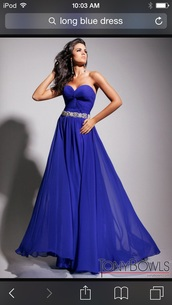 dress,long blue strapless dress,diamons around the waist