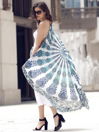cardigan boho kimono cover up blue trendy fashion beach dressfo