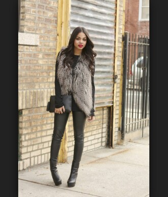 black boots grey coat thigh high boots winter coat red lipstick cardigan faux fur vest winter outfits shoes
