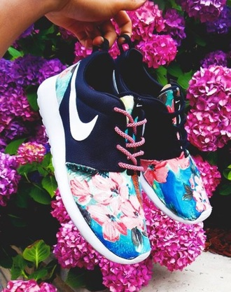 shoes floral pink blue nike shoes nike free run nike running shoes fashion floral shoes