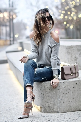 for all things lovely blogger sweater shoes bag jewels sunglasses make-up cut out shoulder grey sweater high heel pumps pumps tumblr cut-out shoulder top jeans denim blue jeans ripped jeans sandals sandal heels high heel sandals pointed toe grey bag black sunglasses