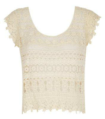 Cream Crochet Stripe Top