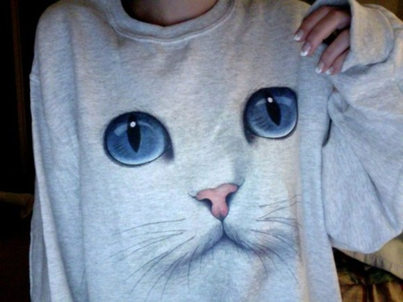sweater cat grey pullover shirt kitten cute