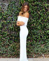 jumpsuit,white,white pants,off the shoulder,jojo fletcher,instagram,lace,lace top,summer
