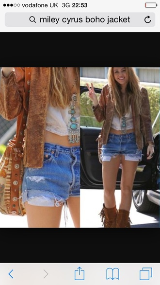 jacket brown jacket miley cyrus leather shorts jewels