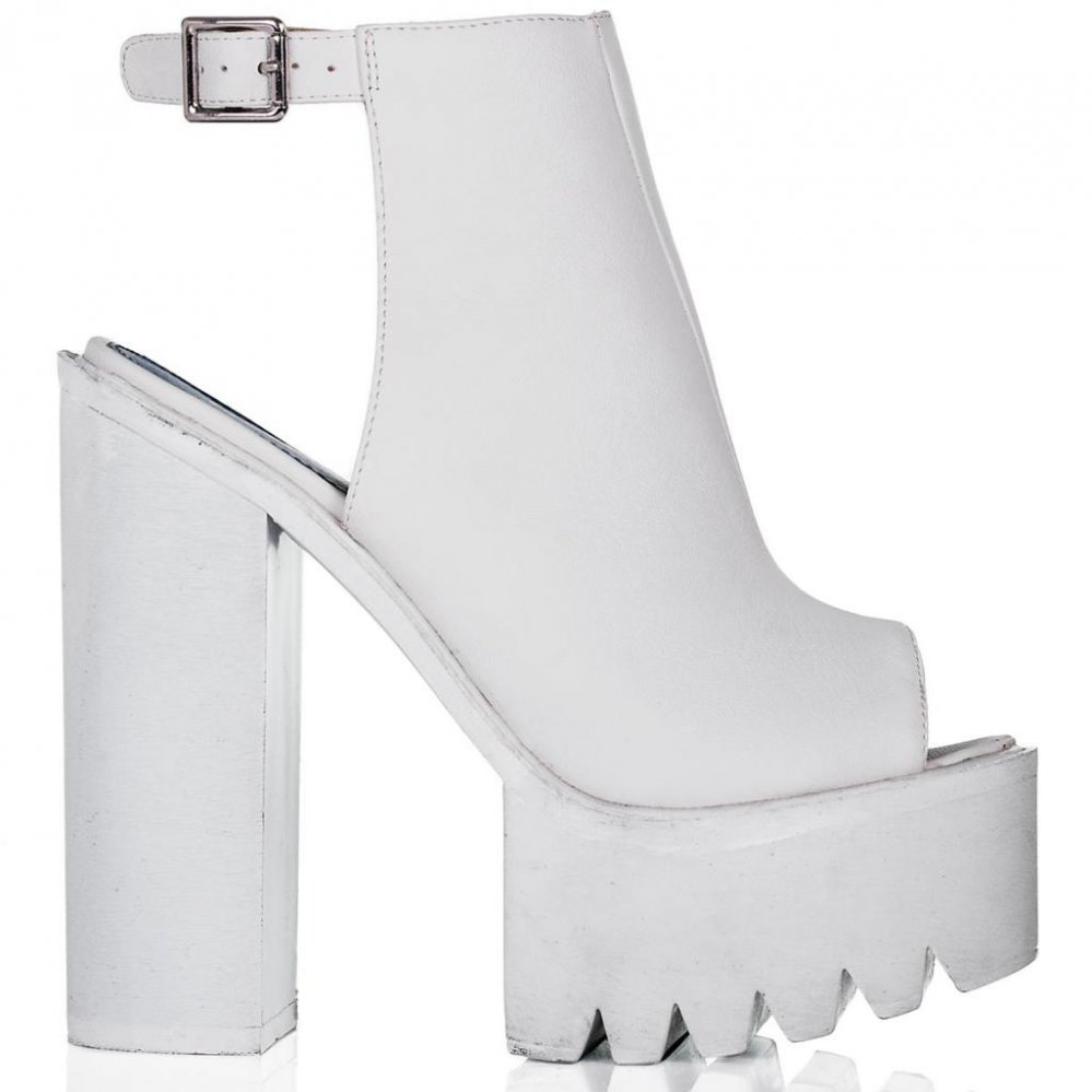 Buy THUNDER Block Heel Tractor Tread Mule Shoes White Leather Style Online