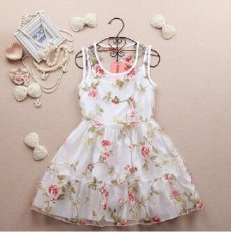 dress vintage girly girl teenagers retro pastel floral flowers ruffle jewels white dress bows pearl prom floral dress with flowers white flowers pastel