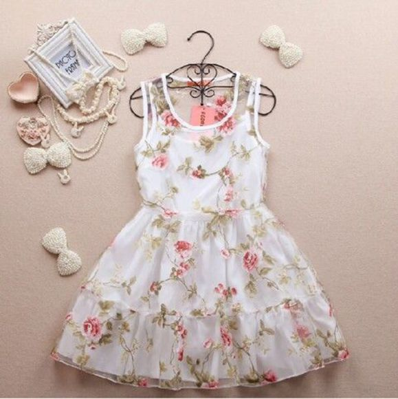 white dress flower dress dress vintage girly girl teenager retro pastel floral ruffles jewels floral bows pearls floral dress with flowers