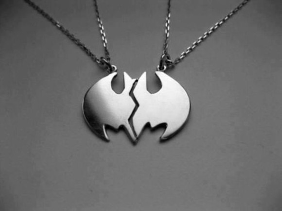 batman jewels 2 couple necklace couples half pair necklace silver retro