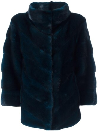 jacket fur women blue silk