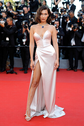 dress gown cannes bella hadid model bustier bustier dress slit dress prom dress long prom dress red carpet dress jewels necklace shoes