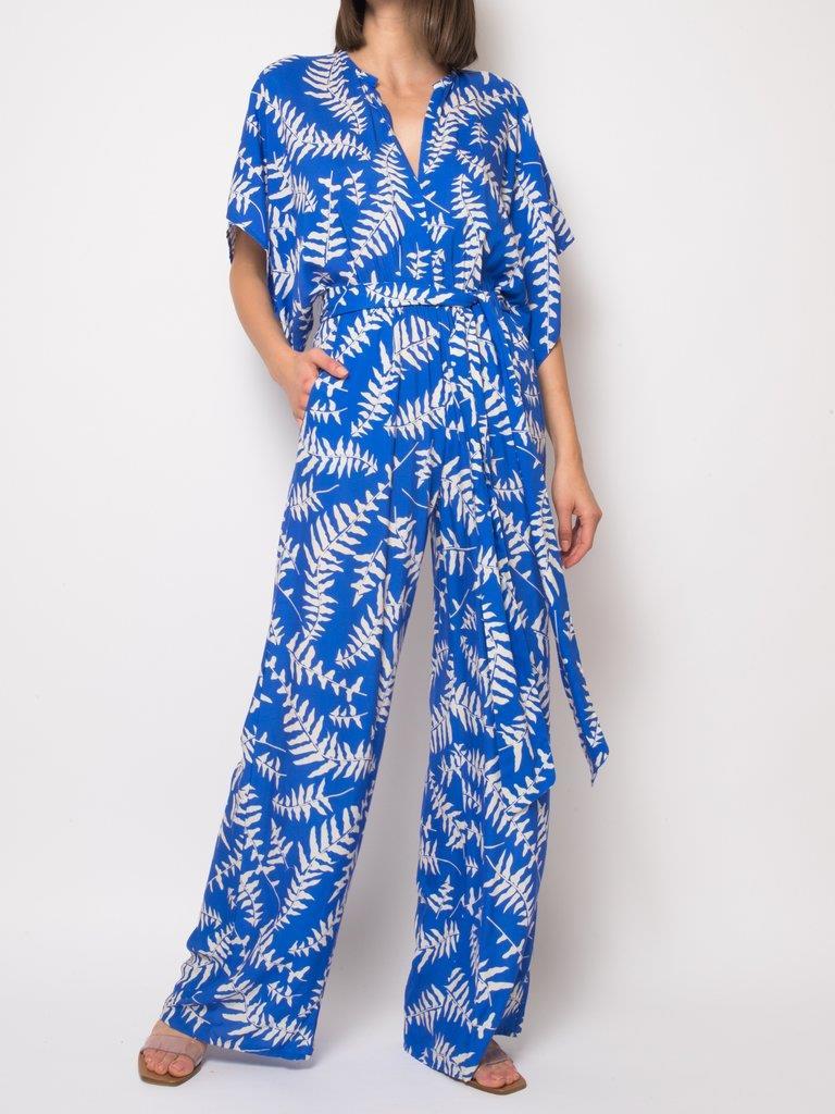 Natasha Blue Foilage Jumpsuit