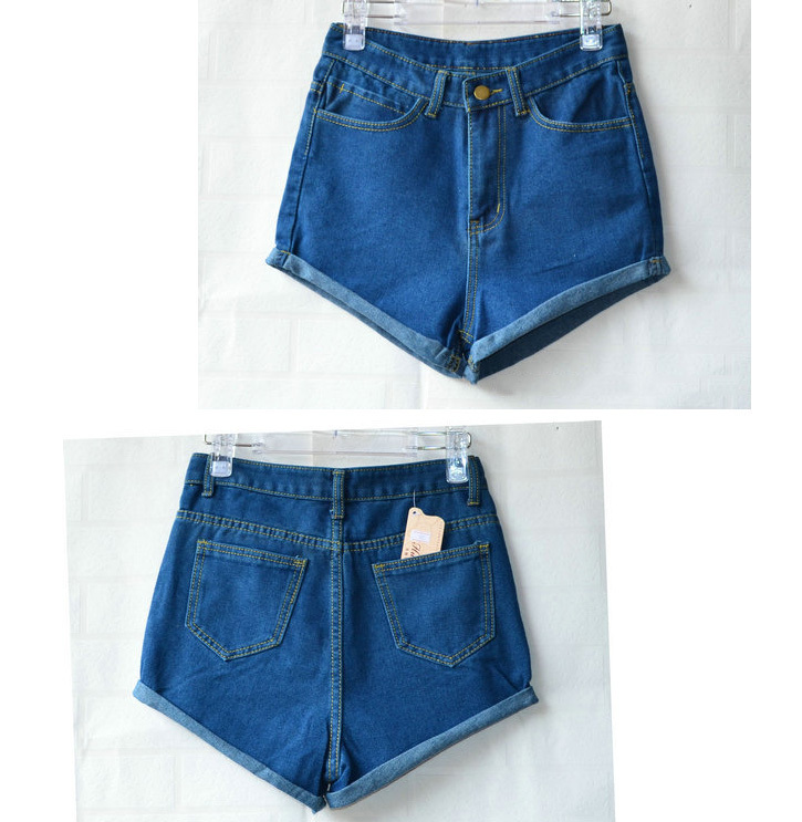 Hot Retro Womens Girls Blue High Waist Flange Hole Wash Jeans Denim Shorts-in Shorts from Apparel & Accessories on Aliexpress.com