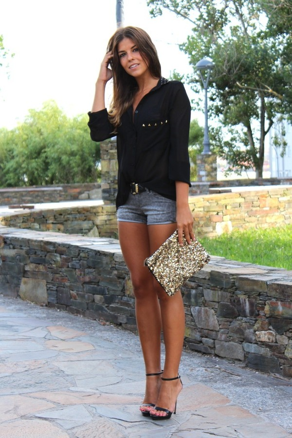 shirt blouse fashion black bag shorts button down sheer shoes black silk blouse short shorts gold sequin clutch relaxed easy style casual dress
