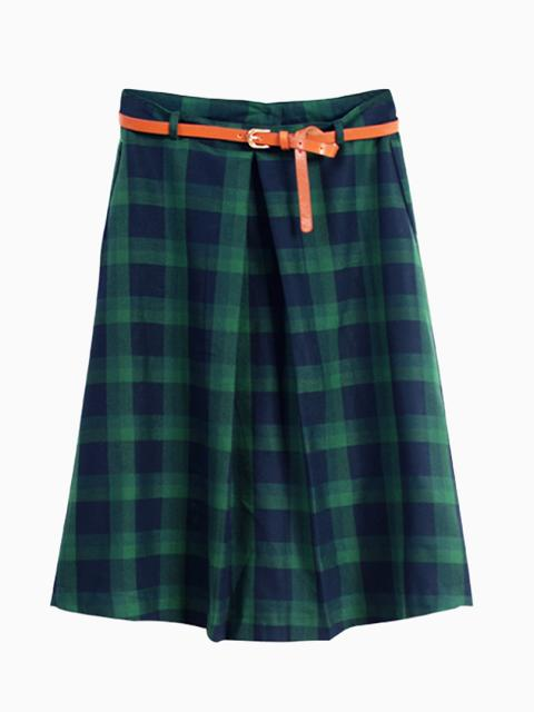 Green High Waist Checked Midi Skater Skirt | Choies