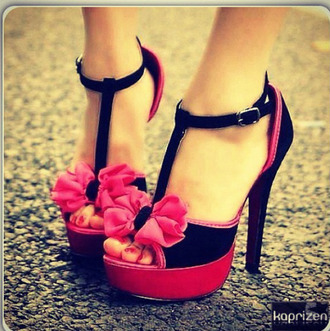 shoes high heels pink black t-strap heels bows pink bow platform heels cute hot hot pink