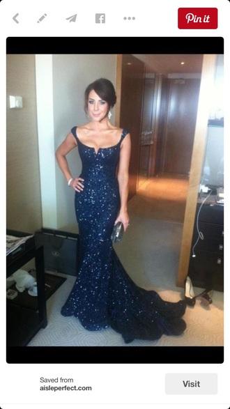 dress prom dress mermaid prom dress blue sparkles pretty navy dress