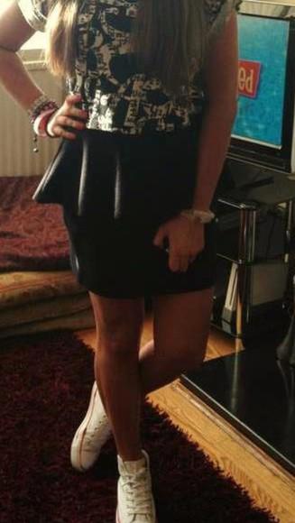 black frills peplum peplum skirt black skirt