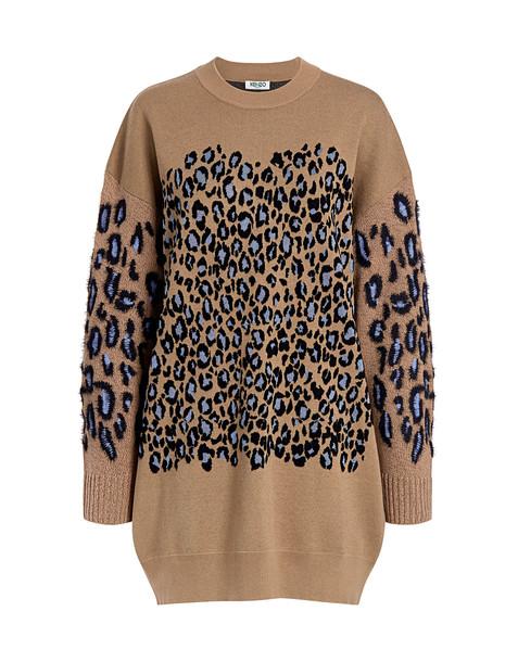 Kenzo Leopard Oversized Sweater Mini Dress Dark Beige