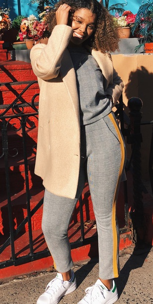 pants flannel flannelprint set yellowstripe