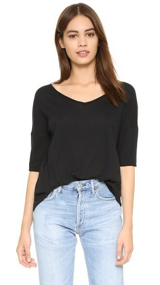 oversized v neck black top