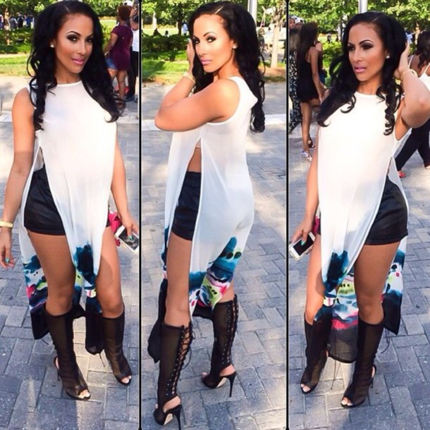 top blouse baddies bad bitches link up black girls killin it long top white trendy style cool summer sleeveless teenagers clothes spring streetwear