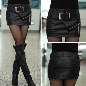 UK 6-14 Punk Rock Faux PU Leather Mini Skirt Tights Bodycon Casual ...