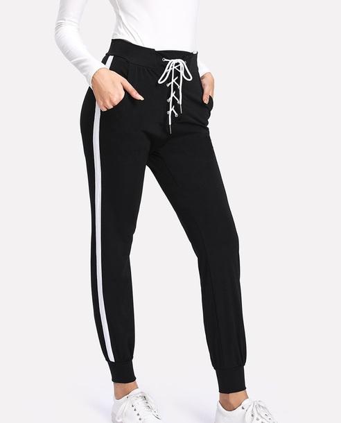 pants girly black joggers joggers pants sweatpants