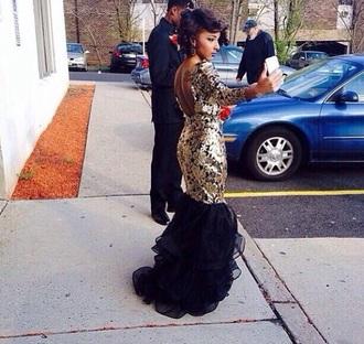 dress clothes prom dress gold black mermaid prom dresses ruffles