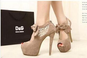 shoes shoe heels lace beige suede bowtie opentoe