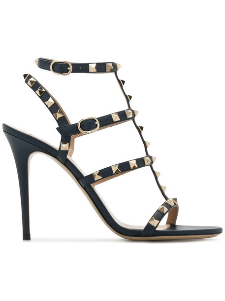 Valentino women sandals leather blue shoes