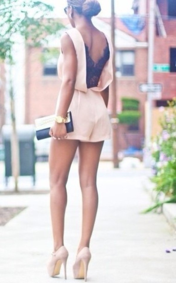 dress romper high heels clutch bun gold watch lace