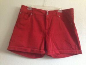 Lovesick Red Denim Shorts Sz 17 | eBay