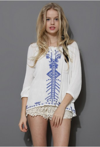 Boho Blue Stitch Embroidery Top - Retro, Indie and Unique Fashion