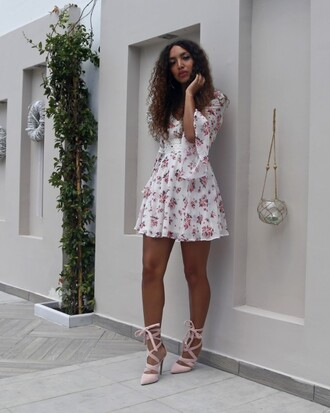 from hats to heels blogger dress shoes mini dress floral dress short dress summer dress summer outfits sandals sandal heels high heel sandals blush pink sandals lace up heels bell sleeves bell sleeve dress