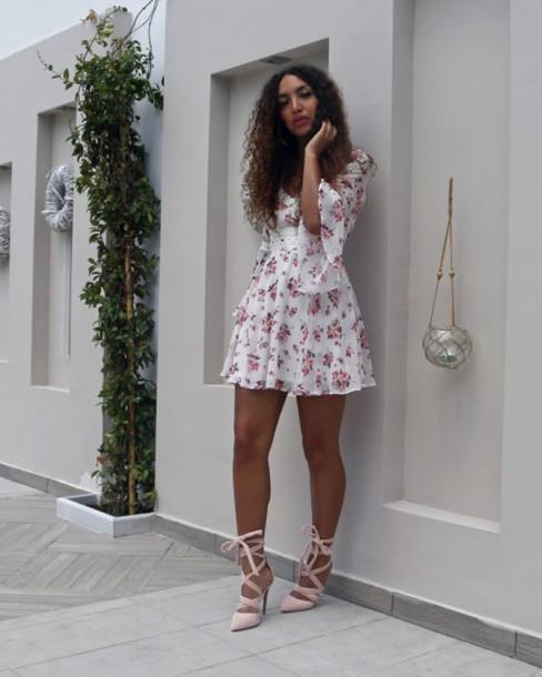 from hats to heels blogger dress shoes mini dress floral dress short dress summer dress summer outfits sandals sandal heels high heel sandals blush pink sandals bell sleeves bell sleeve dress