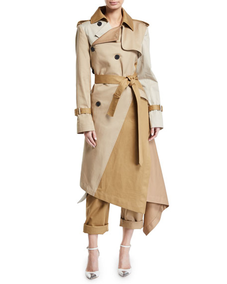 Monse Two-Tone Patchwork Khaki Twisted Trench Coat and Matching Items