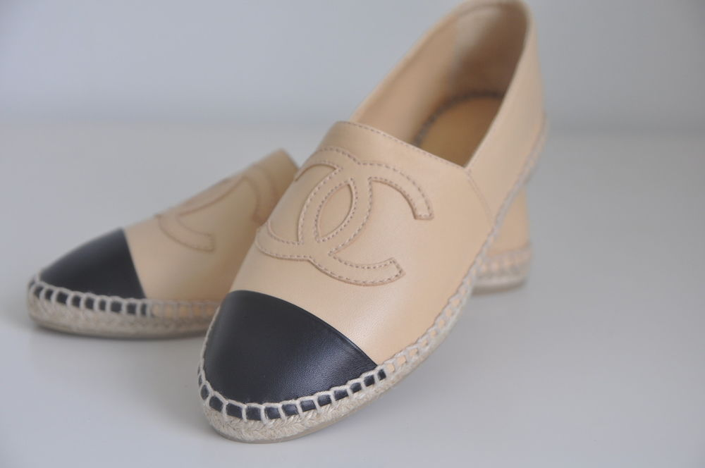 Nib auth chanel classic iconic leather cc logo espadrille flat loafer shoe 11 42