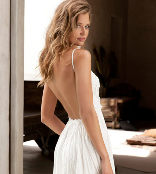 white dress lace summer ivory backless crochet sexy open back