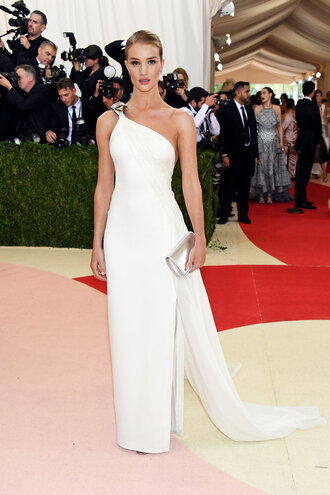 dress gown prom dress wedding dress white dress long prom dress rosie huntington-whiteley one shoulder one shoulder dress metgala2016 clutch met gala shoes