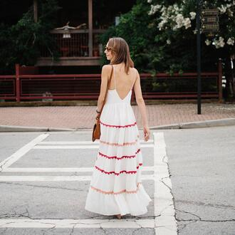 dress tumblr maxi dress long dress white dress open back backless backless dress bag sunglasses